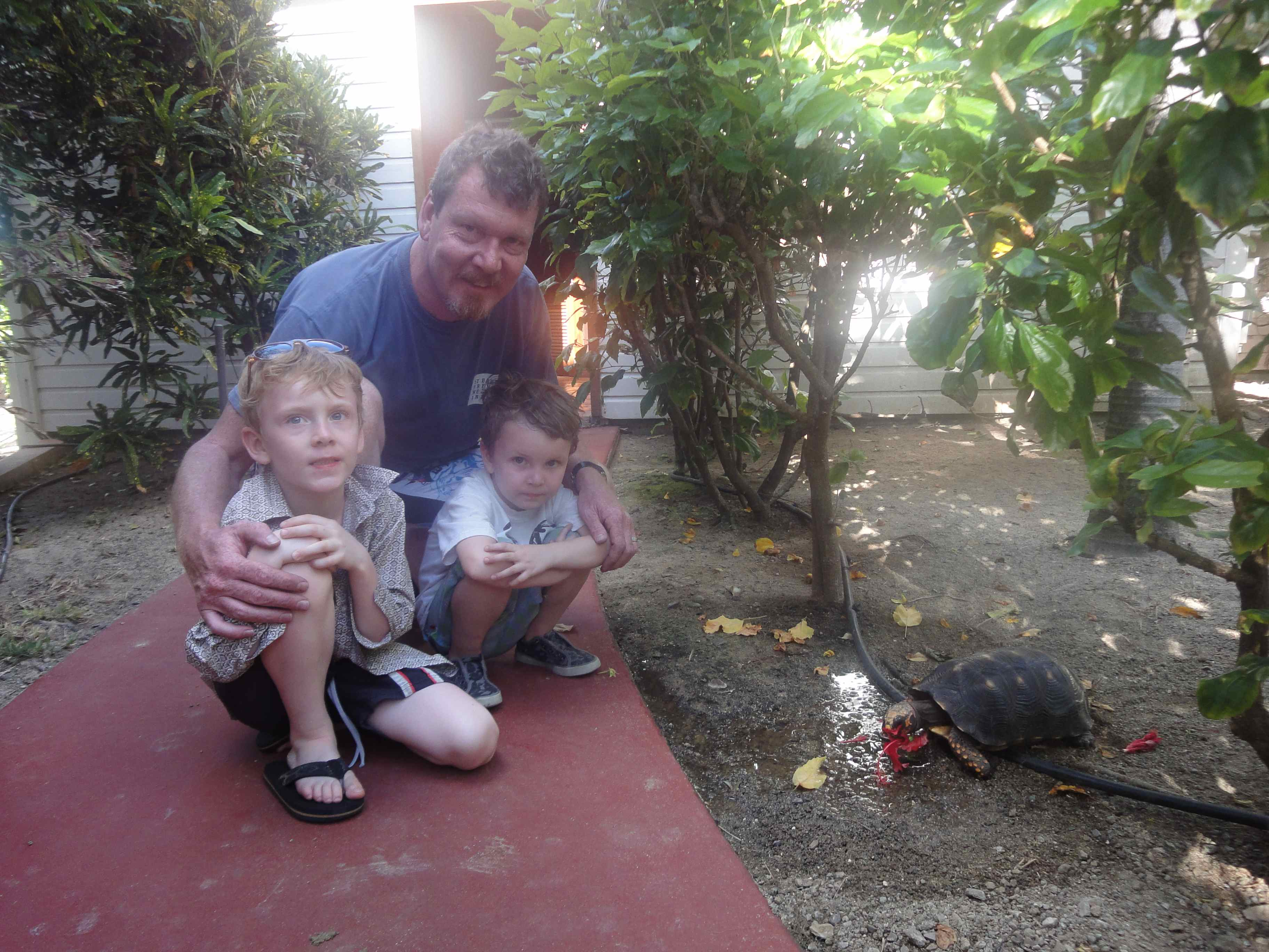 2 Chums & Daddy feeding the Turtle