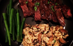 Hanger Steak with Mushroom Risotto